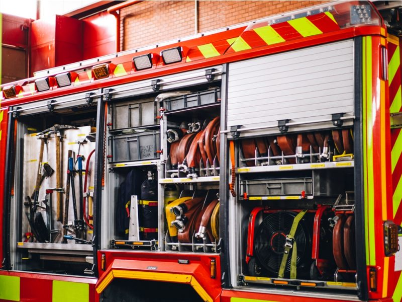 Water tools and hoses in fire truck
